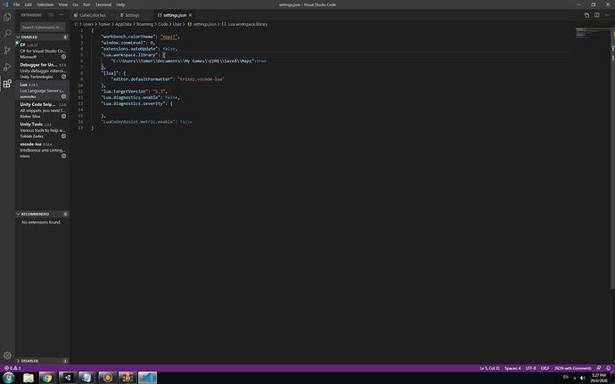 Json file of Vcs lua extension