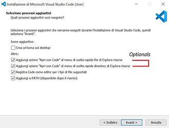 visual studio code installazione 4 check 1 2 facoltativi